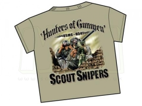 7.62 Design T-Shirt 'USMC Scout Sniper Hunters' (Tan) - Size Large