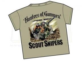 7.62 Design T-Shirt 'USMC Scout Sniper Hunters' (Tan) - Size Extra Large