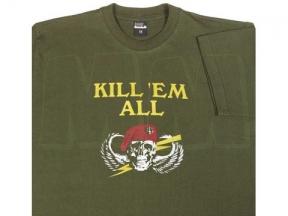 """Mil-Com T-Shirt Marked """"Kill Em All"""" (Olive) - Size Medium"""