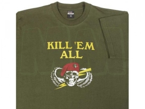 "Mil-Com T-Shirt Marked ""Kill Em All"" (Olive) - Size Small"